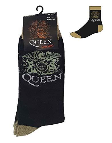 Queen Calzini Classic Crest Band Logo Nuovo Ufficiale Uomo Nero Uk Size 7-11 Size UK Size 7-11