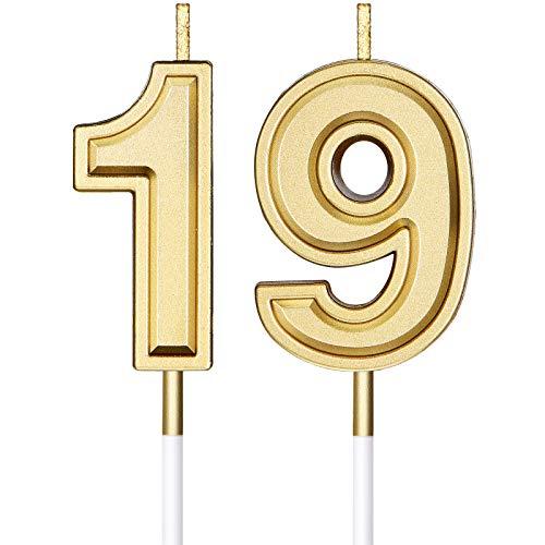 Velas de Cumpleaños de 19 Años Velas de Números Velas de Tarta de Cumpleaños Adornos Toppers para Boda Aniversario Celebración, Dorado
