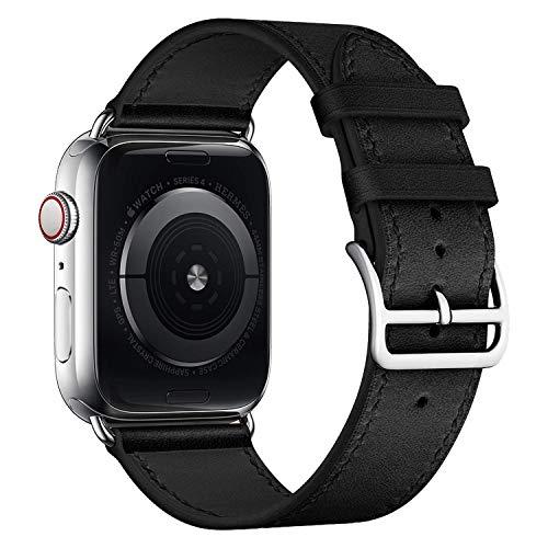iBazal Correa Compatible con iWatch Series 4 Correa 44mm Cuero 42mm Piel Series 3 2 1 Pulseras Bandas reemplazo para Apple Watch Hombres Mujer Reloj - Clásico Negro 42/44