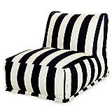 Majestic Home Goods Black Vertical Strip Bean Bag Chair Lounger