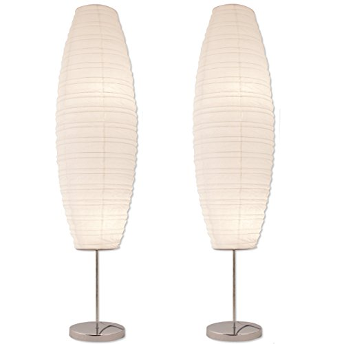 Diploma Paper Floor Lamp Set by Lightaccents - Paper Lamps - Rice Paper Floor Lamps - Paper Floor Lamps for Living Room Fits in Modern Room Decor Perfect for Bedroom Decor - 50 Inches Tall (Set of 2)