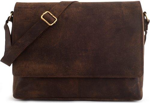 LEABAGS Oxford Umhängetasche Laptoptasche 15 Zoll aus Leder im Vintage Look, Maße (BxHxT...