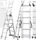 𝐂𝐑𝐀𝐅𝐓𝐅𝐔𝐋𝐋 Aluminium Leiter Teleskopleiter Klappleiter CF-106A - 𝟑 𝐉𝐀𝐇𝐑𝐄 𝐆𝐀𝐑𝐀𝐍𝐓𝐈𝐄 - Stehleiter - Multifunktionsleiter (4.22 Meter (3x7 Sprossen))