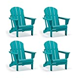 WO 4 Piece Set Outdoor Folding Poly Adirondack Chair for Backyard, Lawn, Patio, Deck, Garden, Weather Resistant Polyethylene Plastic Lounger, Turquoise