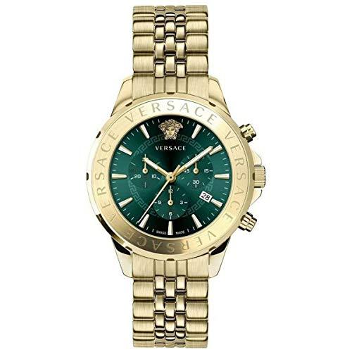 Versace - Orologio da uomo con cronografo al quarzo, colore: verde