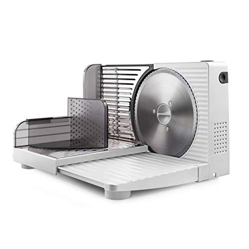 Taurus Cutmaster Compact - Trancheuse électrique 100W, Pour jambon, viande et saucisson, Découpe de 1 à 15 mm, Lame en acier inoxydable de 17 cm, Table de découpe pliable, Protection des doigts