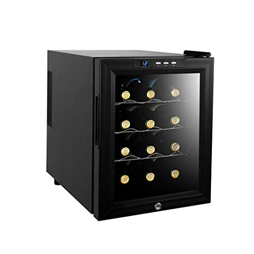 12 Bottiglie Cantinetta di Vino Frigorifero 33L Wine Cooler Porta Vetro 4 Selves 33L 12-18...