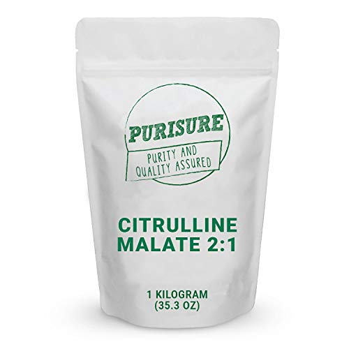 Purisure Citrulline Malate Powder 1kg (334 Servings), Improved Endurance & Muscle Recovery, Train Harder for Longer Hours, Optimize Nitric Oxide Levels, Deal with Muscular Fatigue
