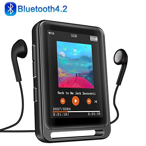 """MP3 Player, 16GB Bluetooth MP3 Player mit 2.4\"""" LCD Touchscreen, Sports MP3 Player mit Kopfhörer/FM Radio/Voice Recorder, Unterstützt bis 128 GB SD Karte(Kopfhörer, Armband, Schlüsselband inklusive)"""