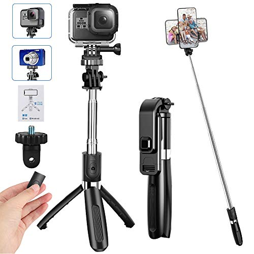 CHUER Bastone Selfie Wireless, 100CM Selfie Stick Treppiede Estensibile con Bluetooth Scatto Remoto, Innesto a Vite per Go PRO/Fotocamera, Treppiede per Cellulare (iPhone/Samsung/Huawei/XiaoMi)
