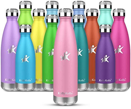 KollyKolla Botella de Agua Acero Inoxidable, Termo Sin BPA Ecológica, Botellas Termica Reutilizable Frascos Térmicos para Niños & Adultos, Deporte, Oficina, Yoga, Ciclismo, (350ml Rosado)
