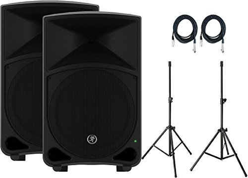 Pair of Mackie Thump12 1000W 12' Powered Loudspeakers with Speaker Stands and (2) 20' XLR Cables