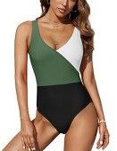 Pfreesea Women Sports One Piece Swimsuit High Waisted Wrap Bathing Suits High Cut Tummy Control Swimwear