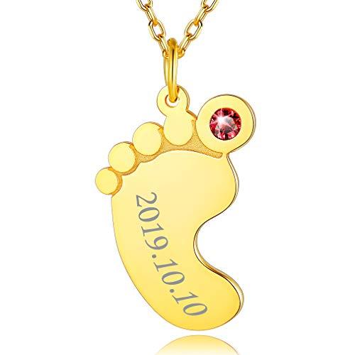 Nombres Personalizados Bebes Collar Oro Amarillo Plata de Ley 925 Pies Diseños Colgante Pequeño Cute para Regalo Mujeres