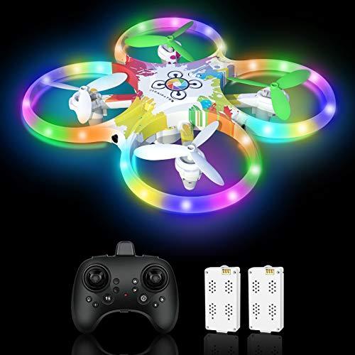 Drone per Bambini RC Drone LED a Colori con Sensore a Infrarossi Azionato a Mano,Drone con Due Batterie,Un Pulsante di Decollo/ Atterraggio ,modalit Senza Testa 3D Flip ,Ideale Regalo per Bambini