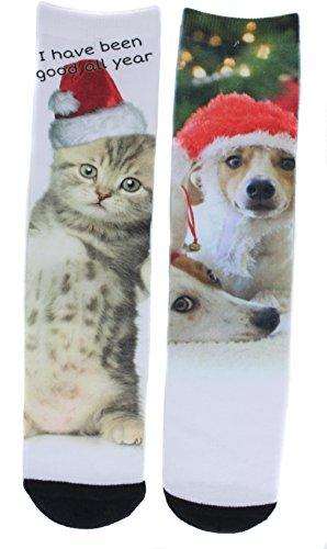 Ladeda Women's Christmas Santa Kitten or Dog Crew Socks (2 Pair) (One Kitten One Dog)