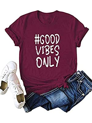 Great for summer,breathable,let your body heat get through the material. Please refer to the size measurement picture before ordering ,You can choose it large one size than your normal size. Features:GOOD VIBES ONLY print at the front.O-neck and shor...