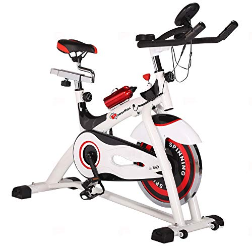 PowerMax Fitness® BS-155 Exercise Cycle Spin Bike for weight loss with I Pad and Bottle Holder for Home Gym best cardio fitness machine with soft adjustable seat.