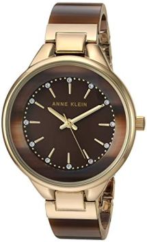 Anne Klein Women's Swarovski Crystal Accented Gold-Tone and Brown Resin Bangle Watch, AK/1408BNGB