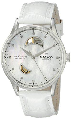 Edox Les Vauberts Damen-Armbanduhr 37mm Armband Leder Weiß Gehäuse Edelstahl Automatik 85019 3A NADN