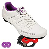 Venzo Bicycle Women's Ladies Lace Road Cycling Riding Shoes Look KEO Compatible Pedals & Cheats for Outdoor or Indoor - 41