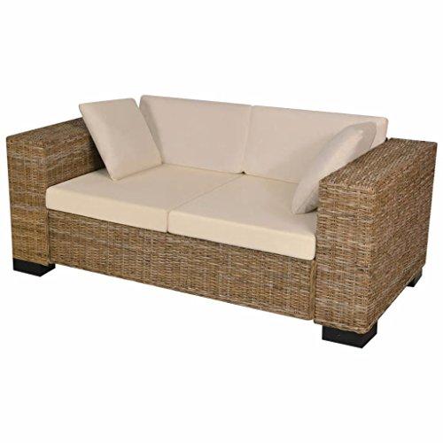 vidaXL Divani da Giardino a 2 Posti 7 pz Elegante Comodo Robusto Sofa con Tavolino Sedie Poggiapiedi con Cuscini Ecologico in Rattan Naturale