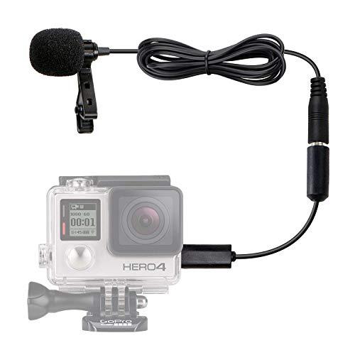 Microfono lavalier Movo GM100 a condensatore multidirezionale con fermaglio per bavero per GoPro HERO3, HERO3+ & HERO4, Versioni nero, bianco & argento