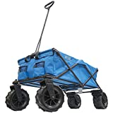 Creative Outdoor Giant All-Terrain Collapsible Folding Wagon Cart for Kids   XXXL Monster Series Wagons   Beach Park Garden & Tailgate   Multiple Color Options (Blue)