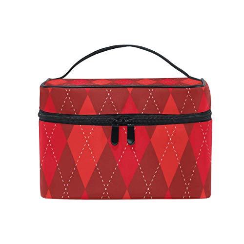 Astucci per truccatori rossi e bordeaux con borsa cosmetica da viaggio per punto bianco Organizer...