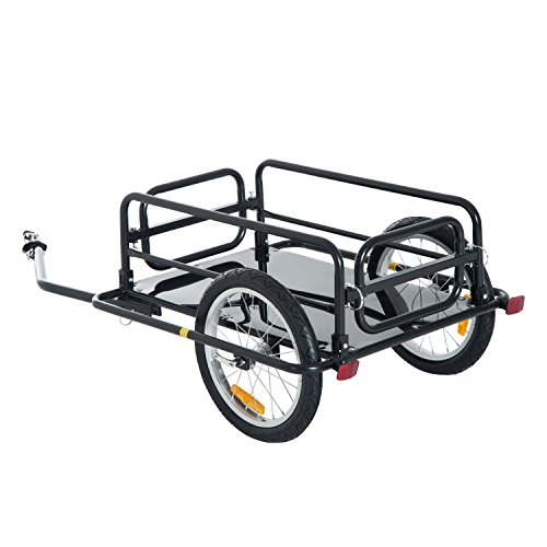 Aosom Foldable Bike Cargo Trailer Bicycle Cart Wagon Trailer with Hitch, Black