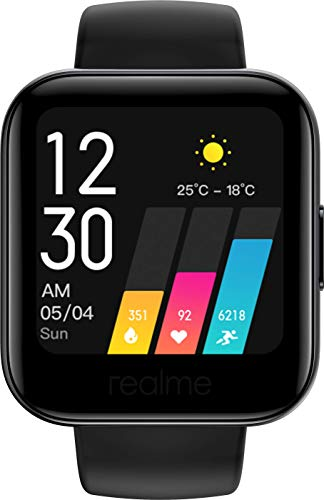 """realme Watch - Smartwatch, pantalla de 1.4"""", mide frecuencia cardíaca PPG y saturación de oxígeno en la sangre (SpO2), 14 modos deportivos, batería de 160mAh (7 a 9 días duración) - Color Negro"""