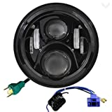 Eagle Lights 7 Inch Round Generation 2 Black LED Headlight for Harley Davidson with 2014+ Harley Adapter Harness