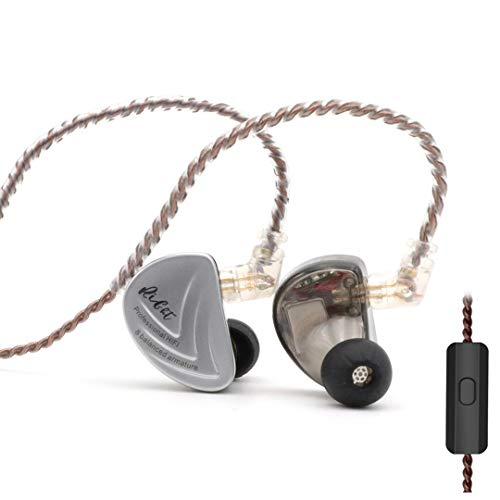 Linsoul KZ AS16 8BA Balanced Armatures in-Ear HiFi Metal Earphones with Aluminum Alloy Faceplate Resin Cavity, 0.75mm 2 Pin Detachable Cable (with mic, Black)