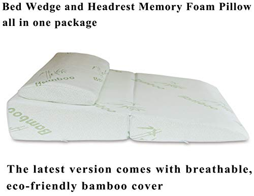 InteVision Folding Bed Wedge Pillow (32' x 25' x 6.5') & Headrest Pillow in One Package - 2' Memory Foam Top & Carrying Case - Helps Relief from Acid Reflux, Post Surgery, Snoring, and Back Pain