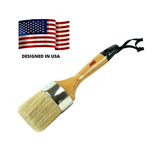 Professional Chalk & Wax Paint Brush - Home Decor Cabinets Stencils & Wooden Items - Compatible with Pixie, DIY,Dark & Clear Paints - Natural Pure Bristles- 1 Oval Large Paint Brush for Furniture