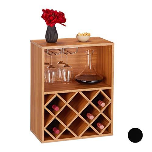 Relaxdays Cantinetta, Scaffale Per 8 Bottiglie Di Vino, Porta Calici, HxLxP: 63 x 50 x 28, Truciolato, Marrone
