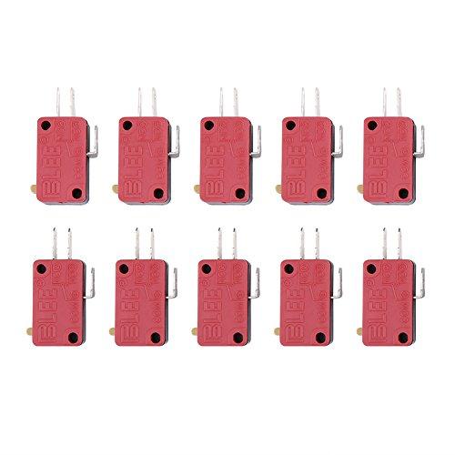 Micro Interruttore 10Pz Mini Interruttore a Levetta SPDT 3 Pins Micro Switch Roller Lever Microinterruttori a leva per Arcade Game Rosso
