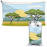 XCNGG Toallas de baño de Secado rápido Toallas de baño para el hogar Toallas Beach Fitness Lounge Chair Large Towel African Landscape Savannah Nature Trees Quick Dry Towel 28.7 x 51 Inch