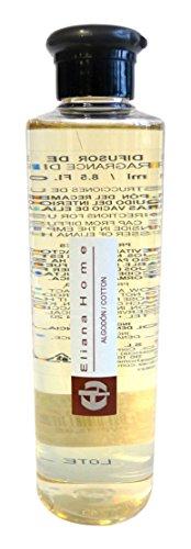 Eliana Home Liquido para difusor de 250 ml Cotton, Aceites Esenciales aromatizados, Gris, 4.50x4.50x18.70 cm