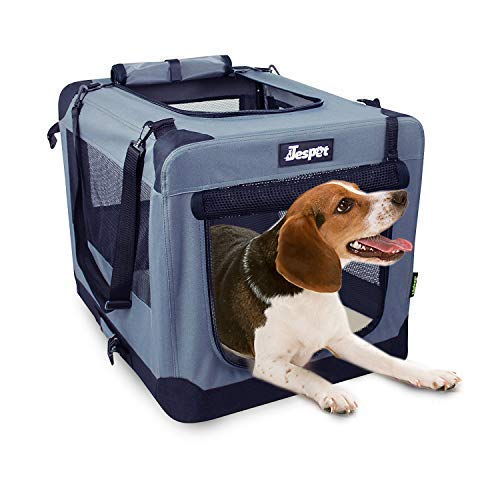 JESPET Soft Dog Crates Kennel for Pets, 3 Door Soft Sided Folding Travel Pet Carrier with Straps and Fleece Mat for Dogs, Cats, Rabbits, Grey Blue & Beige (26' L x 20' W x 20' H, Grey)
