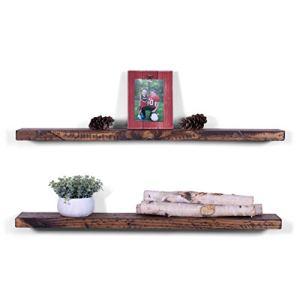 DAKODA LOVE 36' x 5.25' Rugged Distressed Solid Wood Floating Shelves   Premium Handmade Quality   Easy Hidden Bracket Wall Mount   Farmhouse Rustic Pine   Set of 2 (Bourbon)