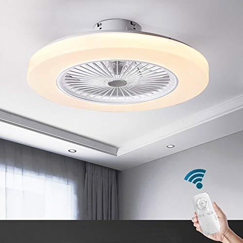 OUKANING Ventilateur de Plafond avec Éclairage et Télécommande Blanc Ventilateur Plafonnier 3 Couleurs de Ventilateur Intérieure Lampe Ultra Silencieux Ventilateur LED Plafonnier pour Salon