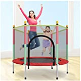 Trampoline with Safety Enclosure Net, 8 FT Round Bounce Jumper for Indoor/Outdoor, Built-in Zipper Heavy Duty Frame, Kids Basketball Hoop Trampoline for Great Gift (8 FT)