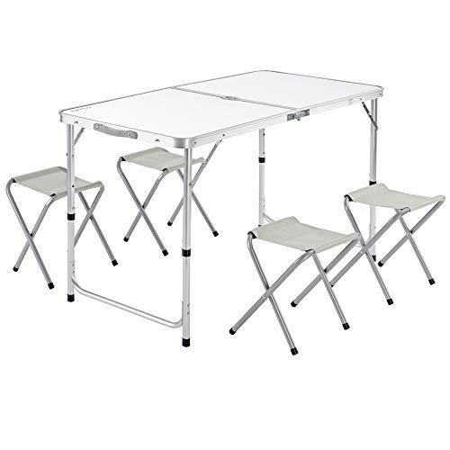 Casaria Tavolo da campeggio pieghevole in alluminio regolabile in altezza XXL con 4 sgabelli 120x60x70cm tavolino a valigetta maniglia di trasporto tavolinetto da picnic