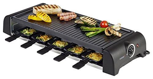 Korona 45060 Raclette Grill für 10 Personen - Tischgrill mit 10 Pfännchen und 10 Spatel - Abnehmbare Grillplatte