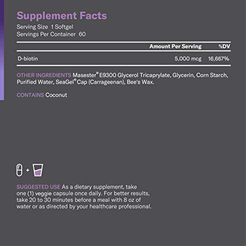 Biotin 5000 MCG - Vitamin B7 with Coconut Oil - Natural Biotin Supplement for Hair Growth, Nail & Skin Health - Vegan & Non-GMO - Skin, Hair and Nail Vitamins - 60 Capsules 2