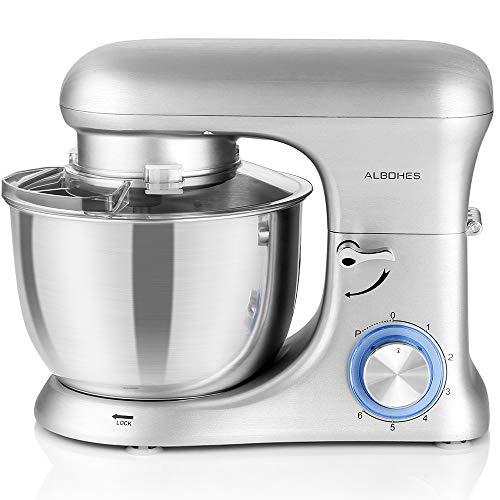 Küchenmaschine Knetmaschine, Albohes Teigknetmaschine 800W, Enthält 5.5L Rührschüssel mit Spritzschutz, Flachrührer, Knethaken, Schneebesen