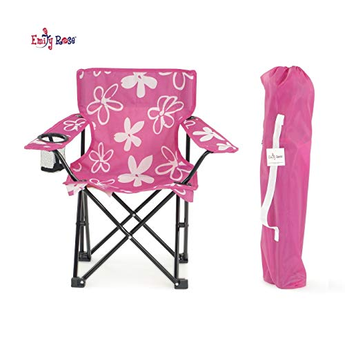 Emily Rose Kid's Pink and White Flower Folding Camp Chair with Child Safety Lock and Carry Case | Doll Chair NOT Included