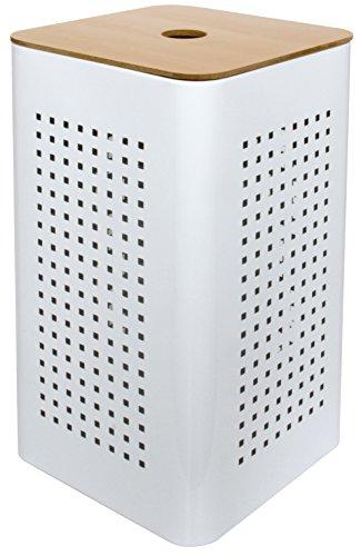 Gelco 707540White Wäschekorb Metall/Holz Weiß 30x 30x 50cm