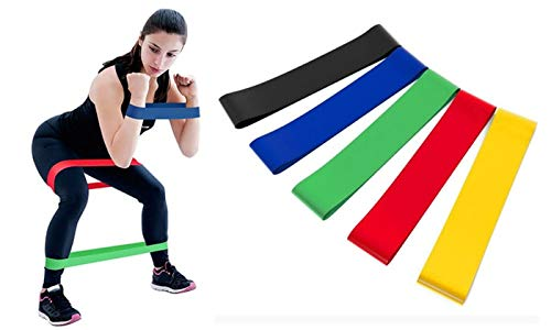 Gopendra Loop Bands for Fitness, Yoga, Pilates, Legs, Waist, Shoulders, Hips and Strength Training - Set of 5